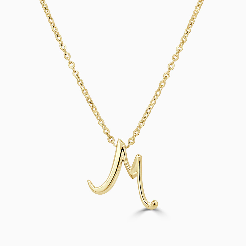 18ct Yellow Gold M - Initial Pendant
