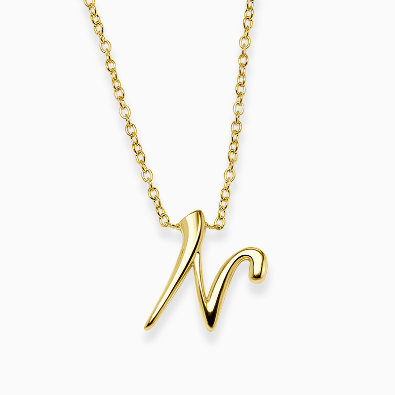 18ct Yellow Gold N - Initial Pendant