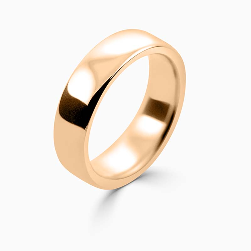 18ct Rose Gold 6mm Slight Court Heavy Weight Wedding Ring