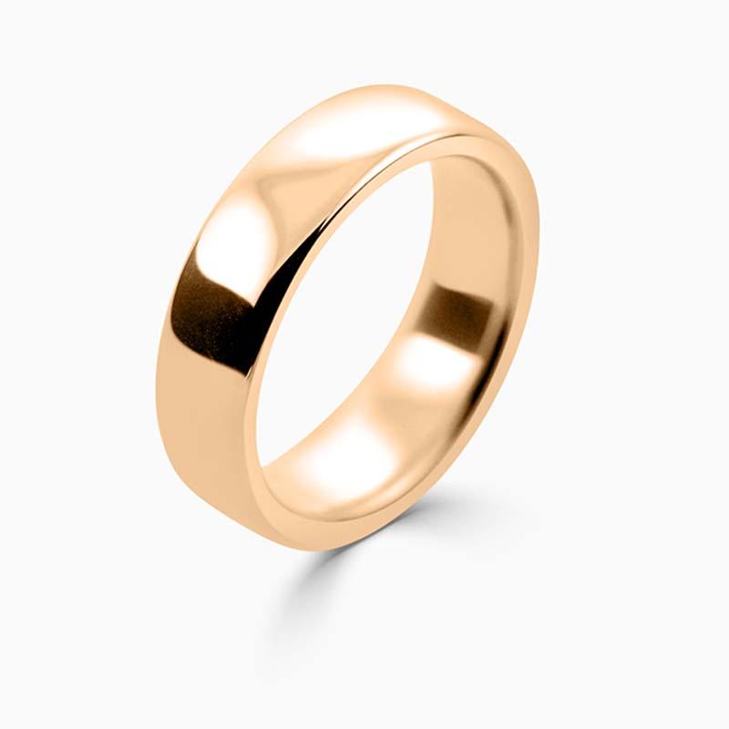 18ct Rose Gold 6mm Slight Court Heavy Weight Wedding Ring