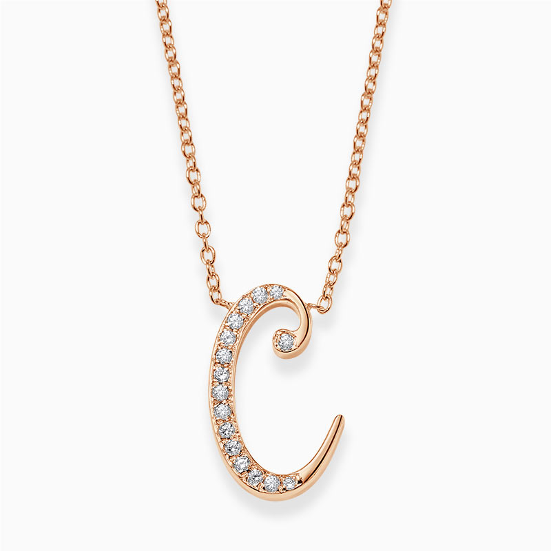 18ct Rose Gold C -  Initial Diamond Pendant