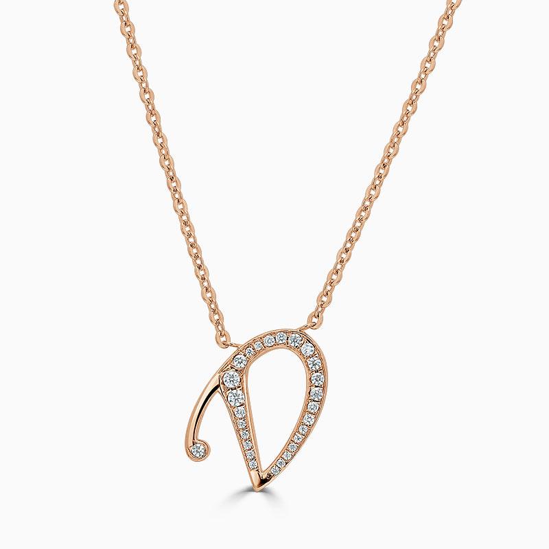 18ct Rose Gold D -  Initial Diamond Pendant