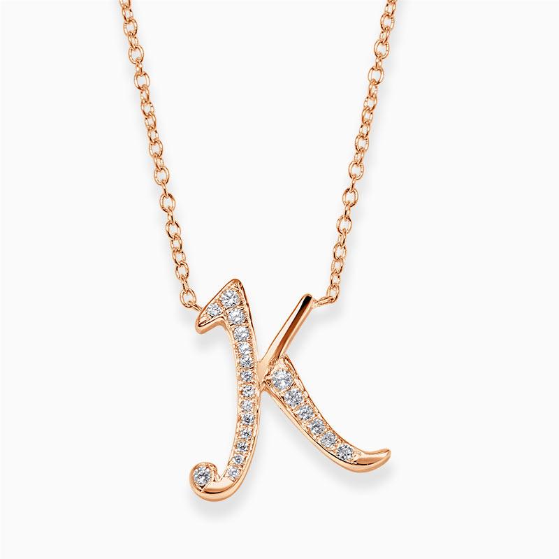 18ct Rose Gold K -  Initial Diamond Pendant