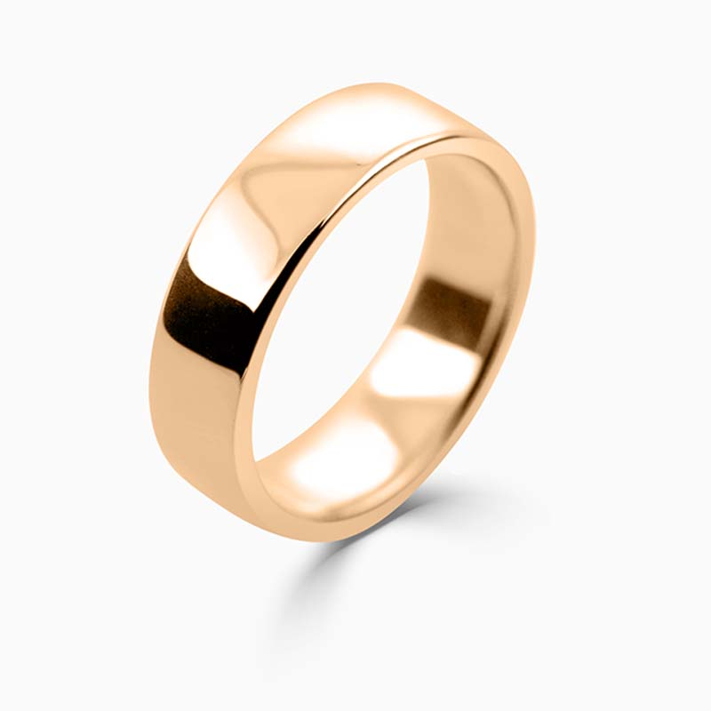 18ct Rose Gold 6mm Slight Court Medium Weight Wedding Ring