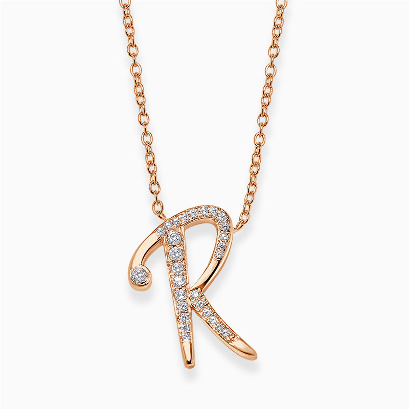18ct Rose Gold R -  Initial Diamond Pendant