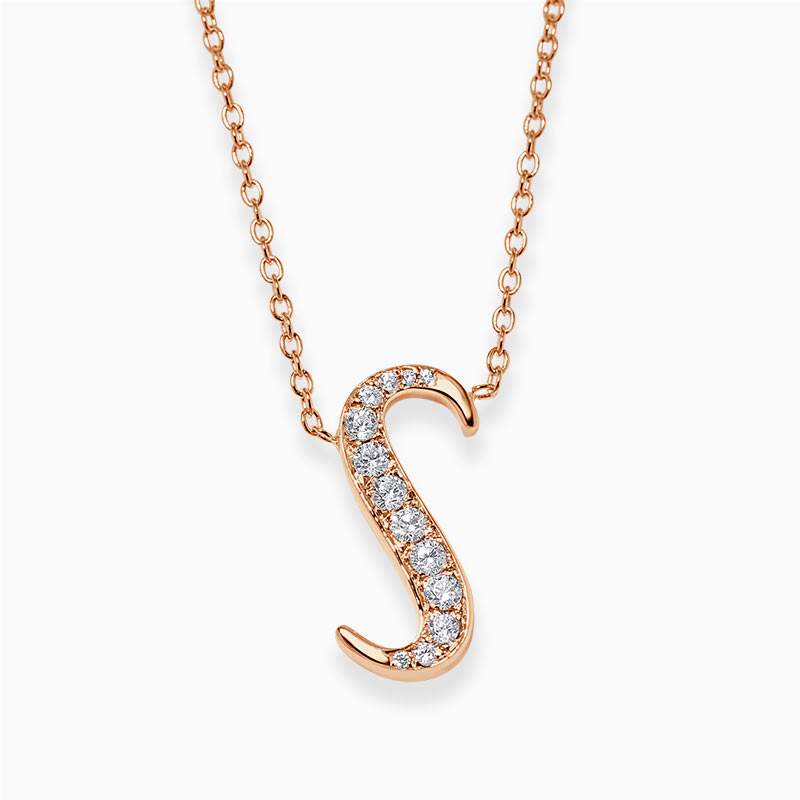 18ct Rose Gold S -  Initial Diamond Pendant