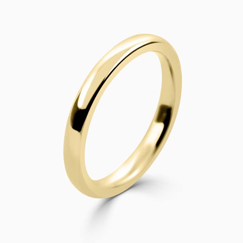 18ct Yellow Gold 2.5mm Slight Court Heavy Weight Wedding Ring