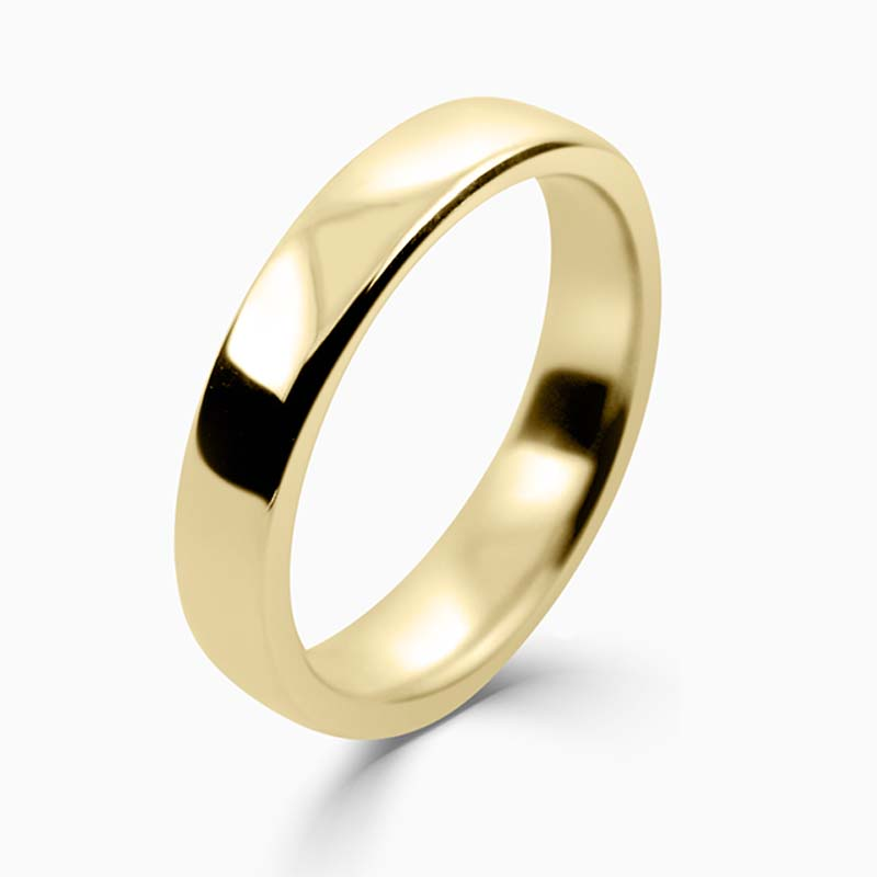 18ct Yellow Gold 4mm Slight Court Medium Weight Wedding Ring