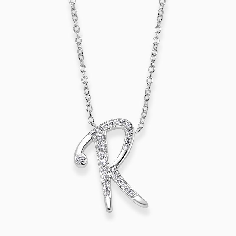 18ct White Gold R -  Initial Diamond Pendant