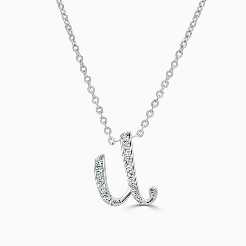 18ct White Gold U -  Initial Diamond Pendant
