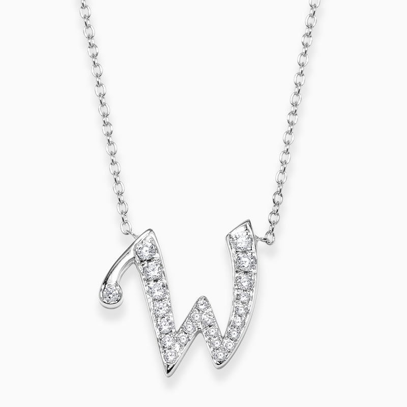 18ct White Gold W -  Initial Diamond Pendant