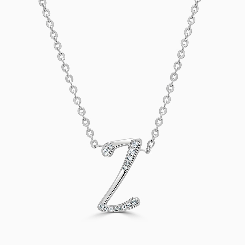 18ct White Gold Z -  Initial Diamond Pendant