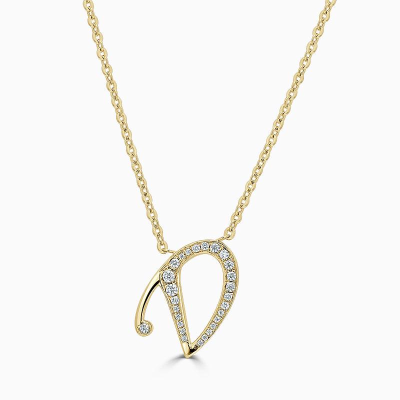 18ct Yellow Gold D -  Initial Diamond Pendant