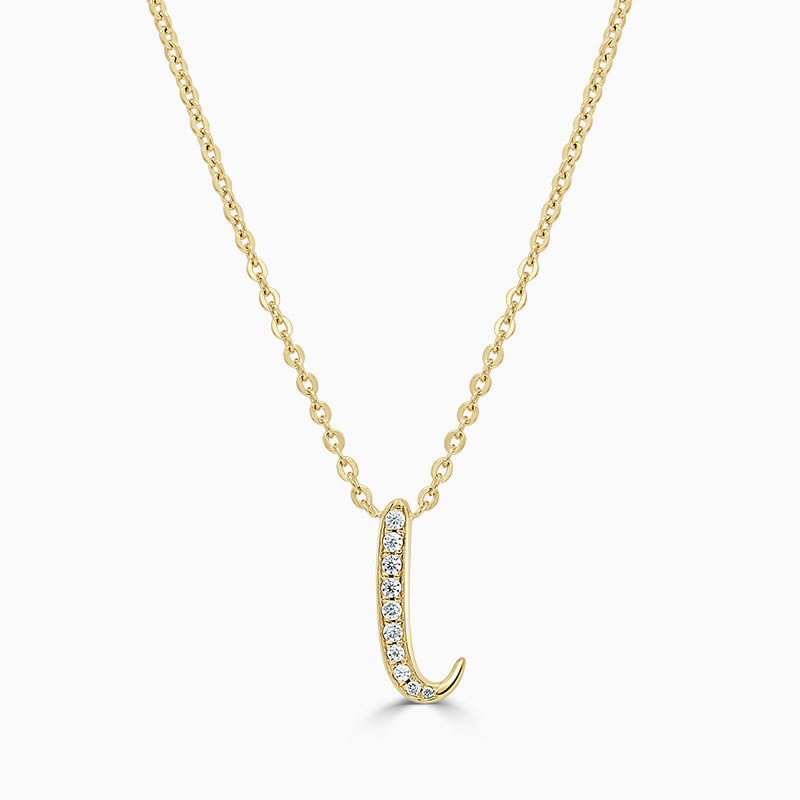 18ct Yellow Gold I -  Initial Diamond Pendant