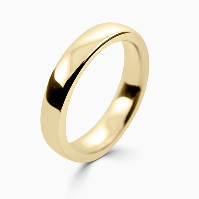 18ct Yellow Gold 4mm Slight Court Heavy Weight Wedding Ring