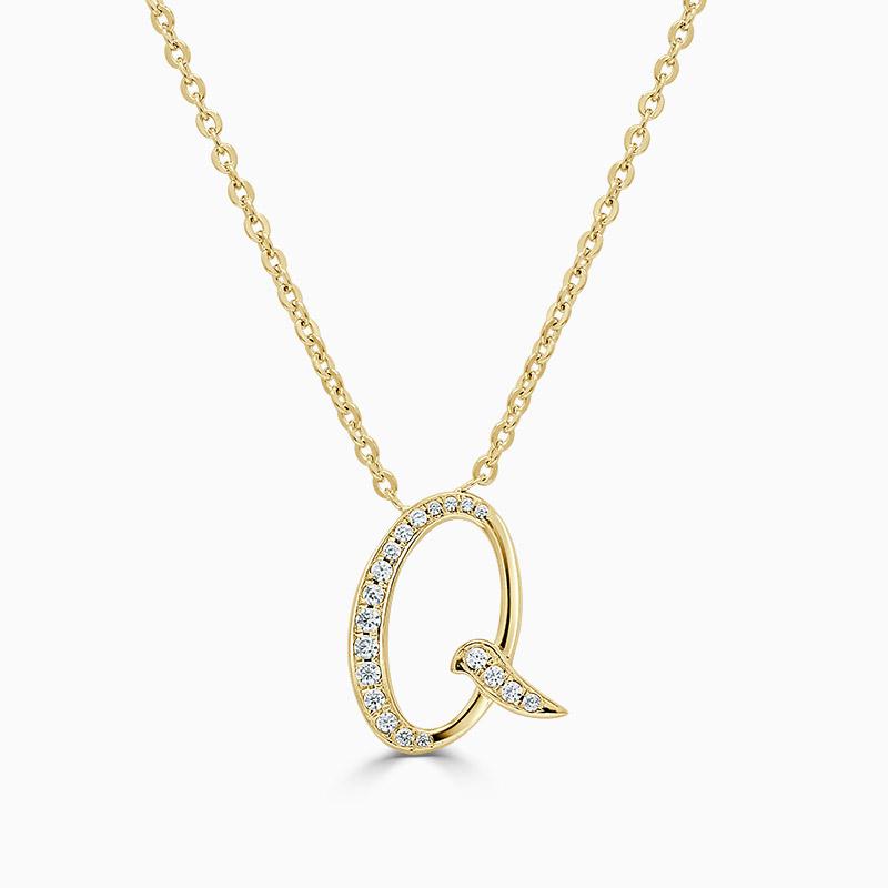 18ct Yellow Gold Q -  Initial Diamond Pendant
