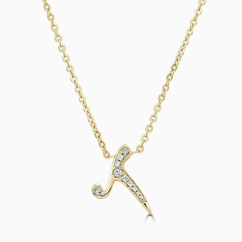 18ct Yellow Gold T -  Initial Diamond Pendant