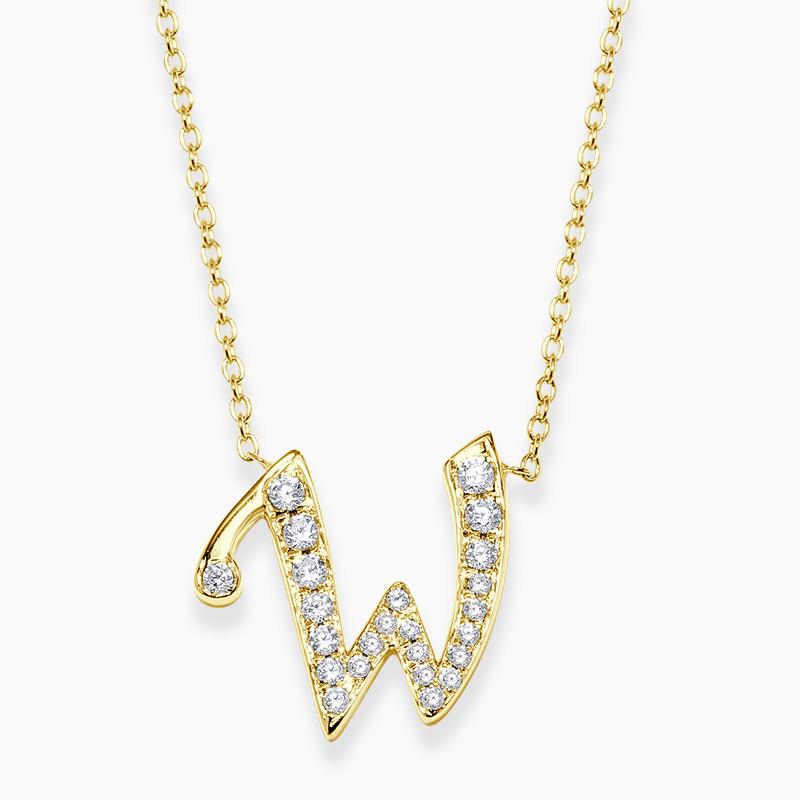 18ct Yellow Gold W -  Initial Diamond Pendant