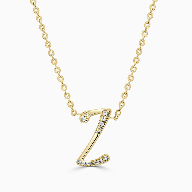18ct Yellow Gold Z -  Initial Diamond Pendant