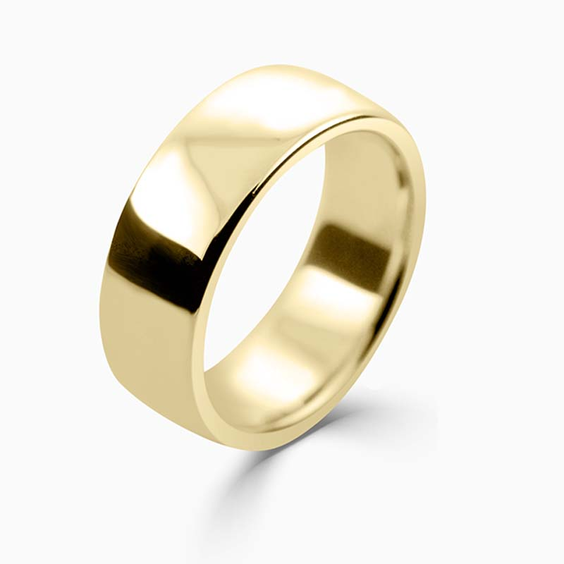 18ct Yellow Gold 8mm Slight Court Heavy Weight Wedding Ring