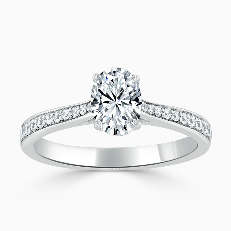 Platinum 950 Oval Shape Tapered Pavé Engagement Ring with Oval, 0.7ct, E Colour, VS1 Clarity