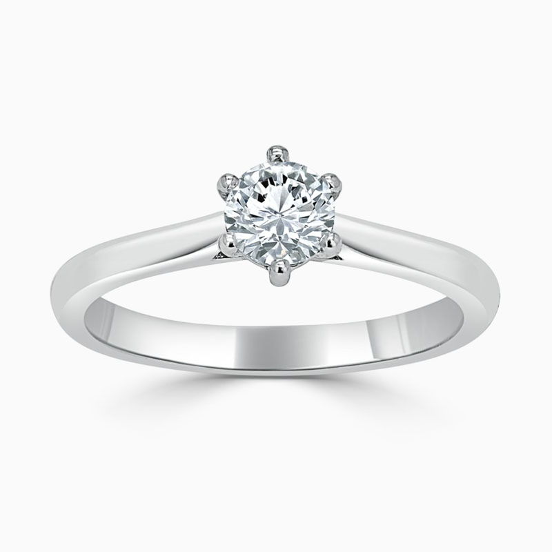 Platinum 950 Round Brilliant Wedfit 6 Claw Engagement Ring with Round, 0.4ct, F Colour, SI1 Clarity - GIA