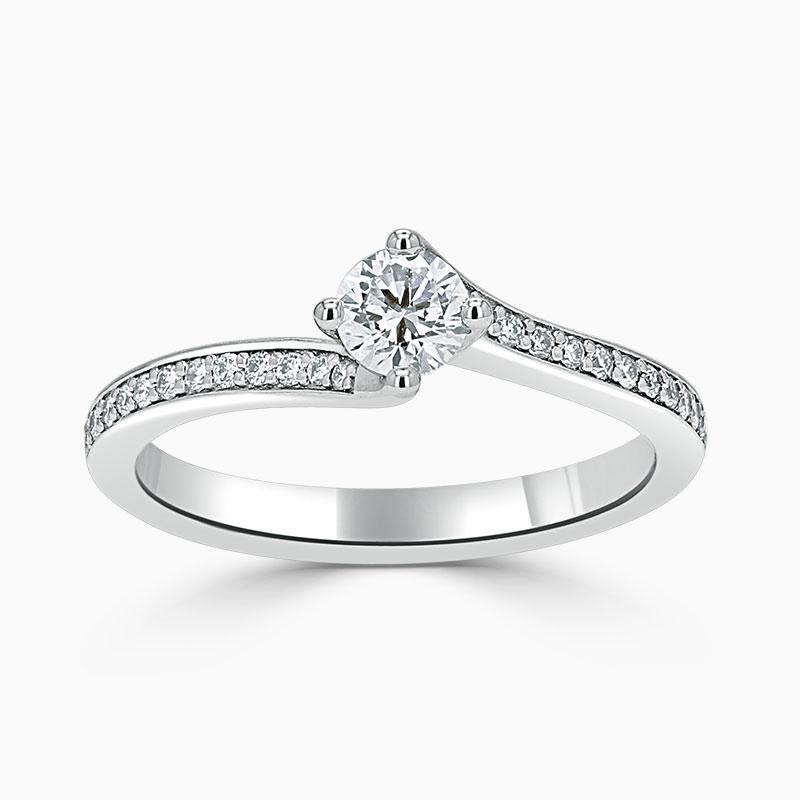 Platinum 950 Round Brilliant Twist Pavé Engagement Ring with Round, 0.3ct, D Colour, VS2 Clarity - GIA