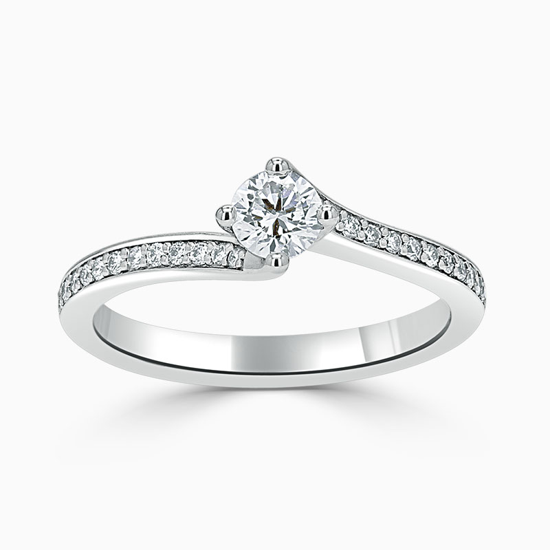 Platinum 950 Round Brilliant Twist Pavé Engagement Ring with Round, 0.3ct, D Colour, VS2 Clarity - GIA