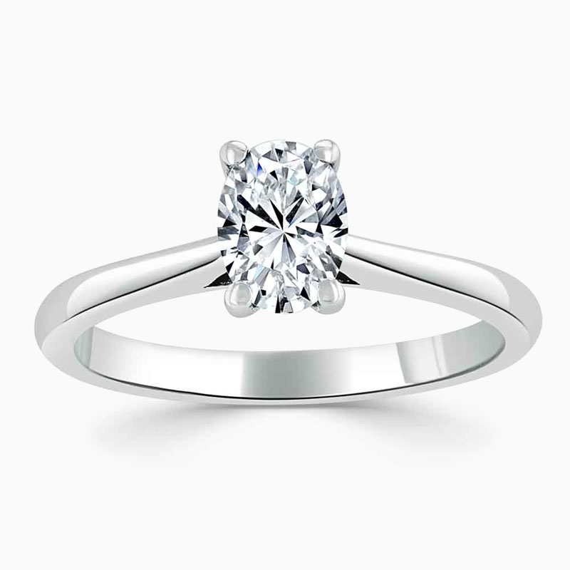 Platinum 950 Oval Shape Classic Wedfit Engagement Ring with Oval, 0.5ct, D Colour, VS2 Clarity - GIA