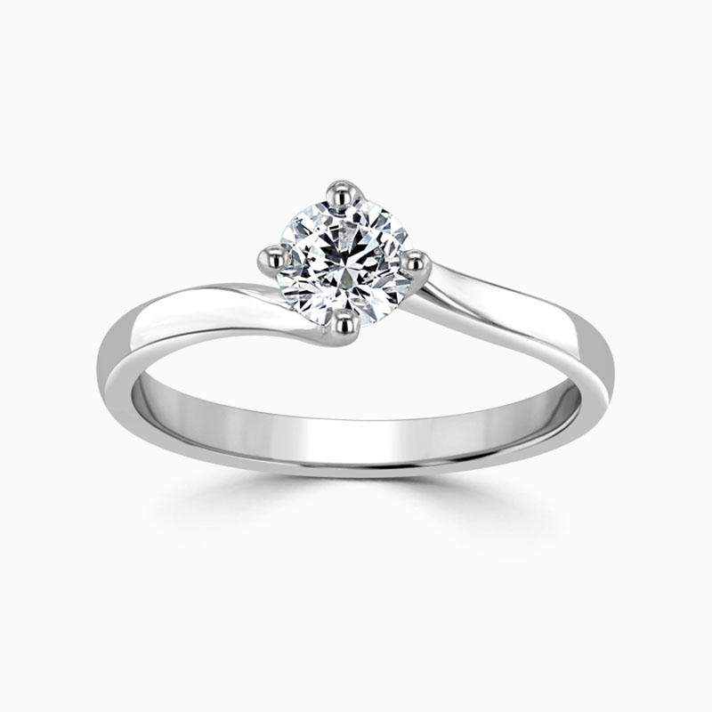 Platinum 950 Round Brilliant Twist Engagement Ring with Round, 0.3ct, F Colour, SI1 Clarity - GIA