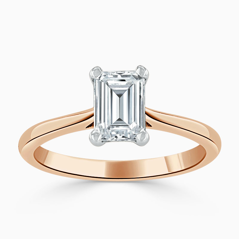 18ct Rose Gold Emerald Cut Classic Wedfit Engagement Ring with Emerald, 0.47ct, D Colour, VVS2 Clarity - GIA