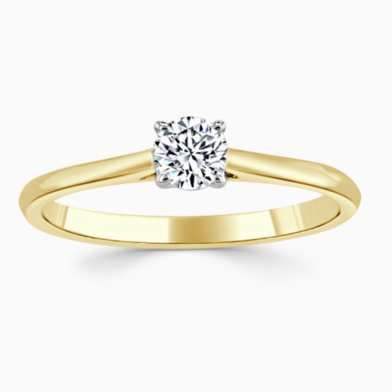 18ct Yellow Gold Round Brilliant Classic Wedfit Engagement Ring with Round, 0.25ct, E Colour, VS2 Clarity - GIA