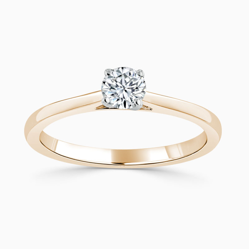 18ct Rose Gold Round Brilliant Classic Wedfit Engagement Ring with Round, 0.3ct, D Colour, SI1 Clarity - GIA