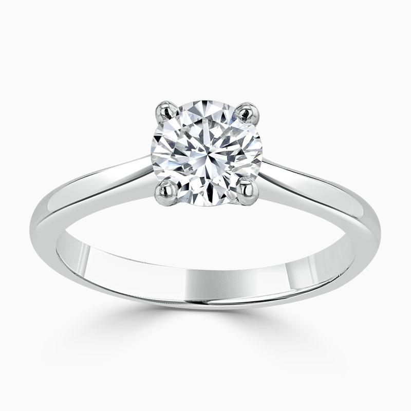 Platinum Round Brilliant Classic Wedfit Engagement Ring with Round, 0.8ct, G Colour, VS2 Clarity - GIA