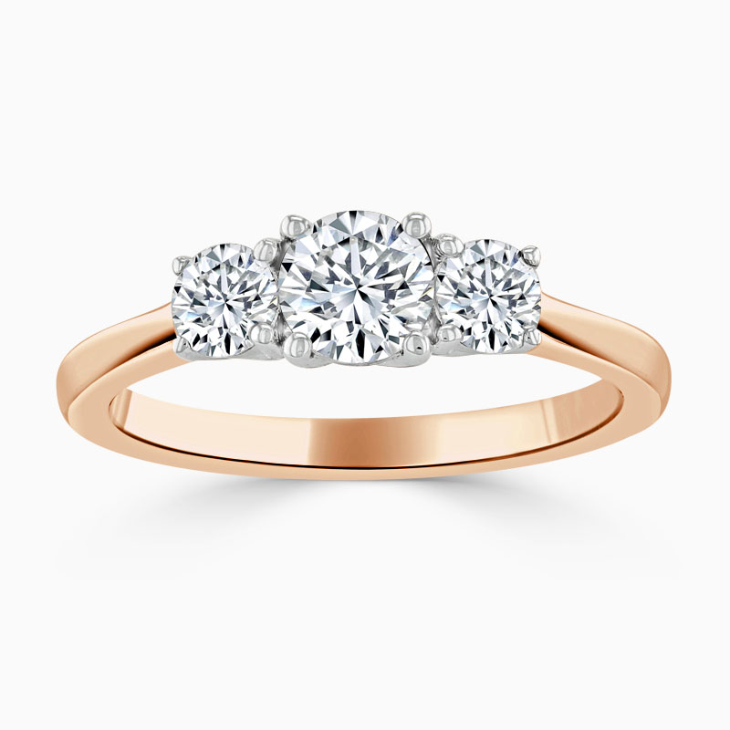 18ct Rose Gold Round Brilliant 3 Stone with Rounds Engagement Ring
