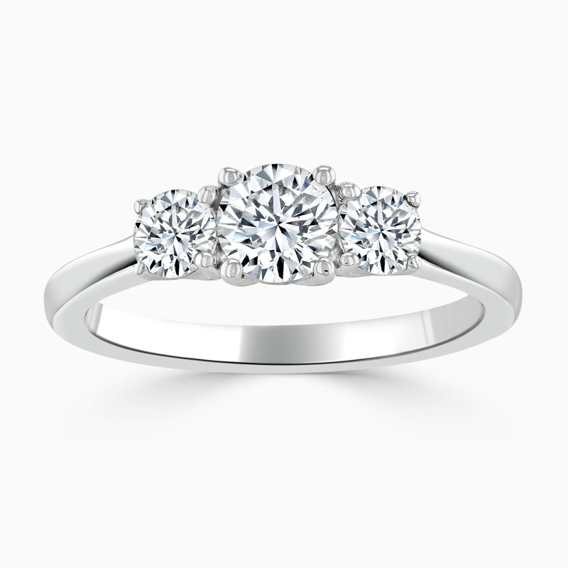 Platinum Round Brilliant 3 Stone with Rounds Engagement Ring