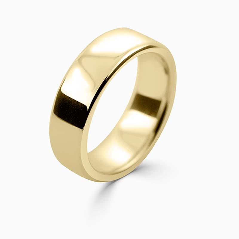 18ct Yellow Gold 7mm Slight Court Heavy Weight Wedding Ring