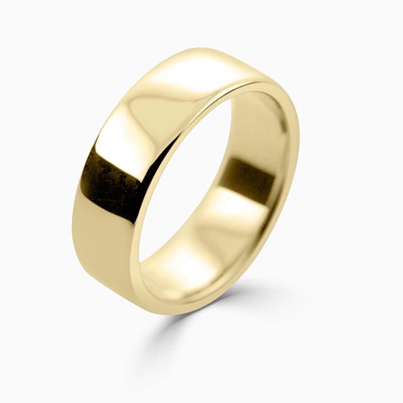 18ct Yellow Gold 7mm Slight Court Medium Weight Wedding Ring