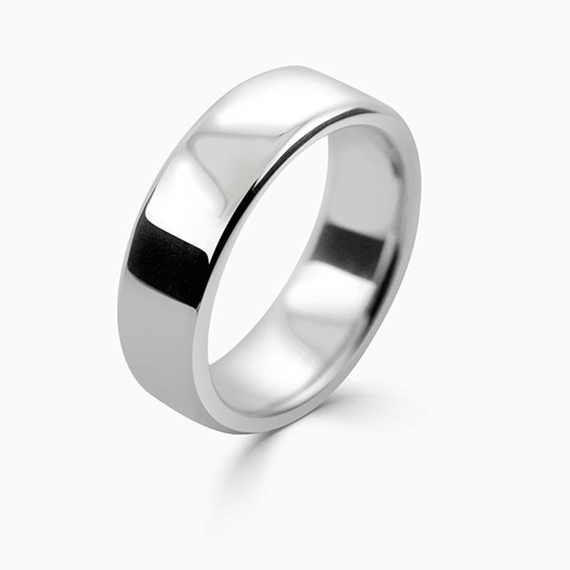 Platinum 7mm Slight Court Heavy Weight Wedding Ring