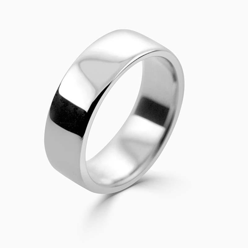 Platinum 7mm Slight Court Medium Weight Wedding Ring