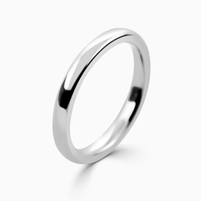 Palladium 2.5mm Slight Court Heavy Weight Wedding Ring