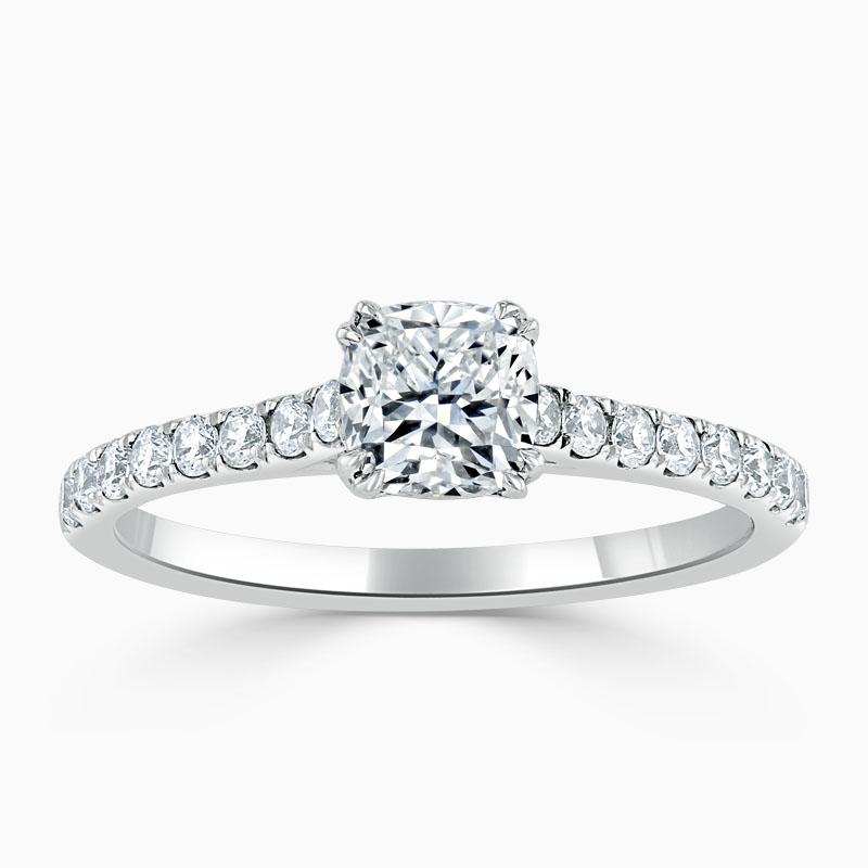 Platinum 950 Cushion Cut Classic Wedfit Cutdown Engagement Ring with Cushion, 0.51ct, H Colour, VS2 Clarity - GIA