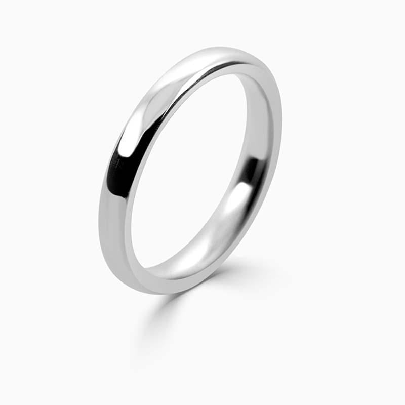 Palladium 2.5mm Slight Court Medium Weight Wedding Ring