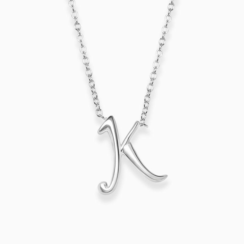 Sterling Silver K - Initial Pendant