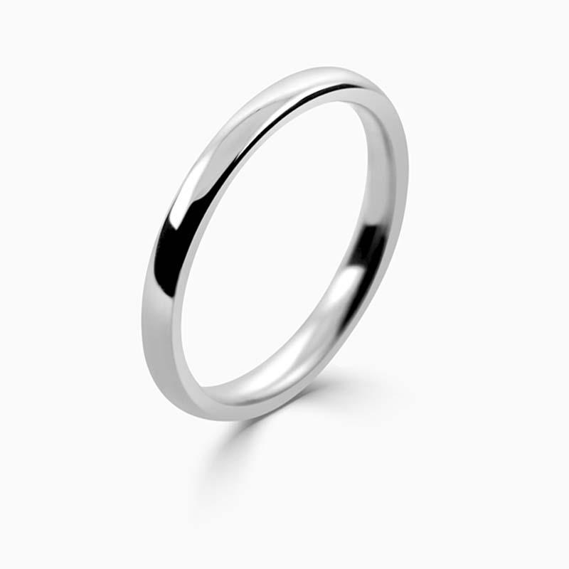 Palladium 2mm Slight Court Medium Weight Wedding Ring