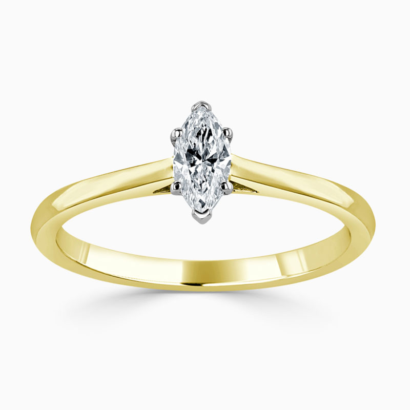 18ct Yellow Gold Marquise Cut Classic Wedfit Engagement Ring with Marquise, 0.24ct, G Colour, SI1 Clarity - GIA