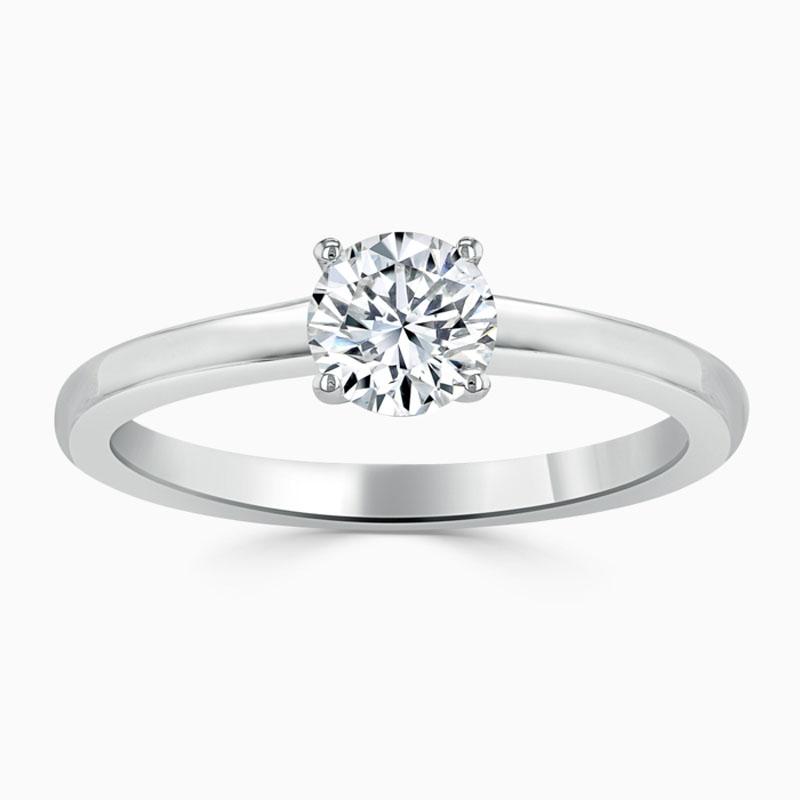 Platinum 950 Round Brilliant Simplicity Engagement Ring with Round, 0.25ct, D Colour, VS2 Clarity - GIA