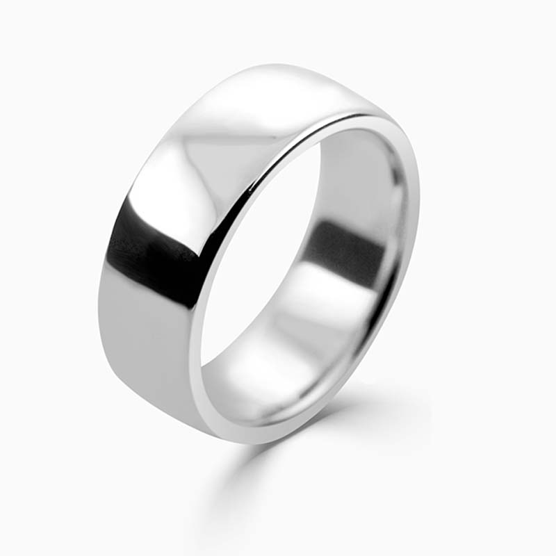 Palladium 8mm Slight Court Heavy Weight Wedding Ring