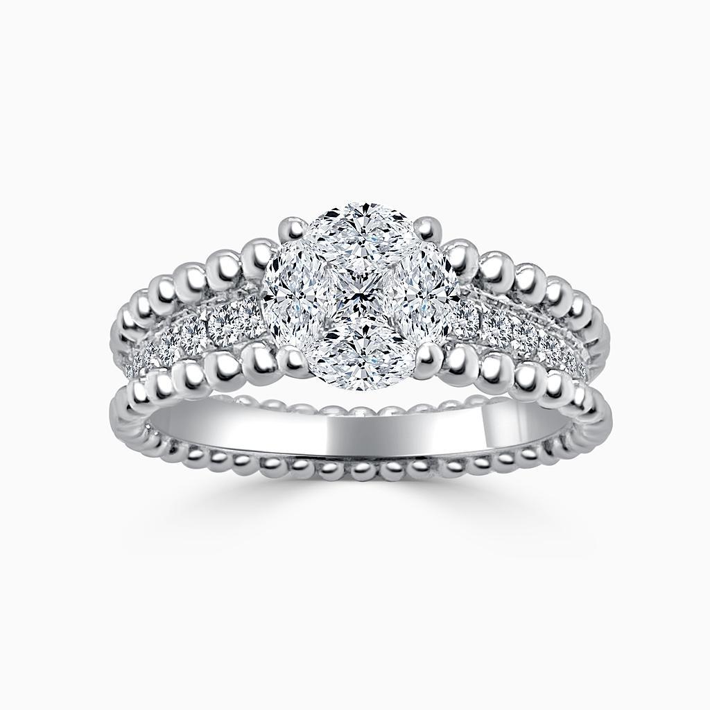 Marquise, Princess Cut & Round Diamond Cluster Ring