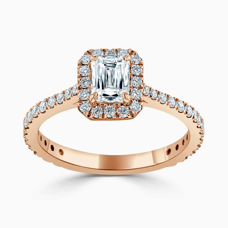 18ct Rose Gold Crisscut Classic Wedfit Halo Engagement Ring with Crisscut, 0.54ct, G Colour, VVS2 Clarity - GIA